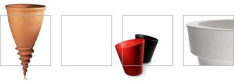Serralunga plastic vases | Left to right: Denis Santachiara's Santavase and Pisa, Luisa Bocchietto's Vas-one